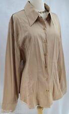 Antilia Femme khaki TOP SHIRT BLOUSE stretch light button up long sl SIZE 3X NEW