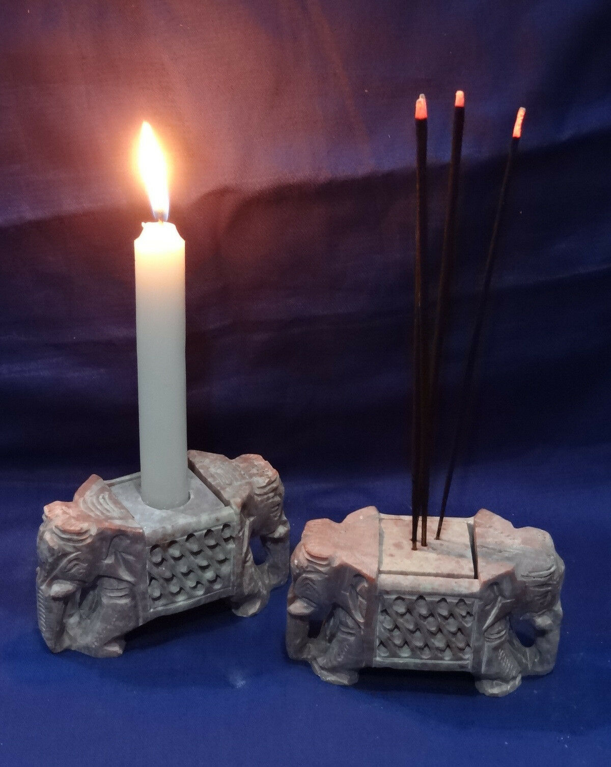 2 Marble Candle Holder Stand Handmade Arts Elephant Design Home Decor Art Gifts