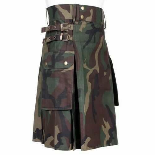 With Pockets Size 30-50 Men/'s Camo Utility Combat Kilt Punk Goth Style