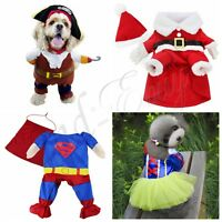 Superman Suit Costume Cotton Clothes For Small Pet Puppy Dog Halloween Apparel