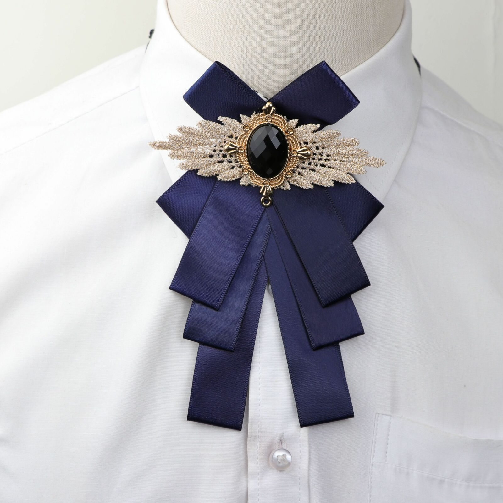 Ribbon Woman Big Bowtie Cravat Bowknot Pin Lapel Solid Color Butterfly Polyester