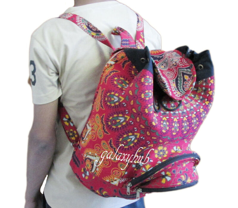 Sunny Red Ombre Mandala Unisex Fashion Backpack Bags Bohemian Cotton Backpacks Throw Aesthetic Appearance