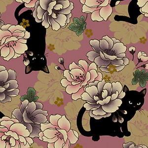 Quilt Gate Hyakka Ryoran Neko Cat Fabric HR3110-11I Rose w/Gold Metallic BTY