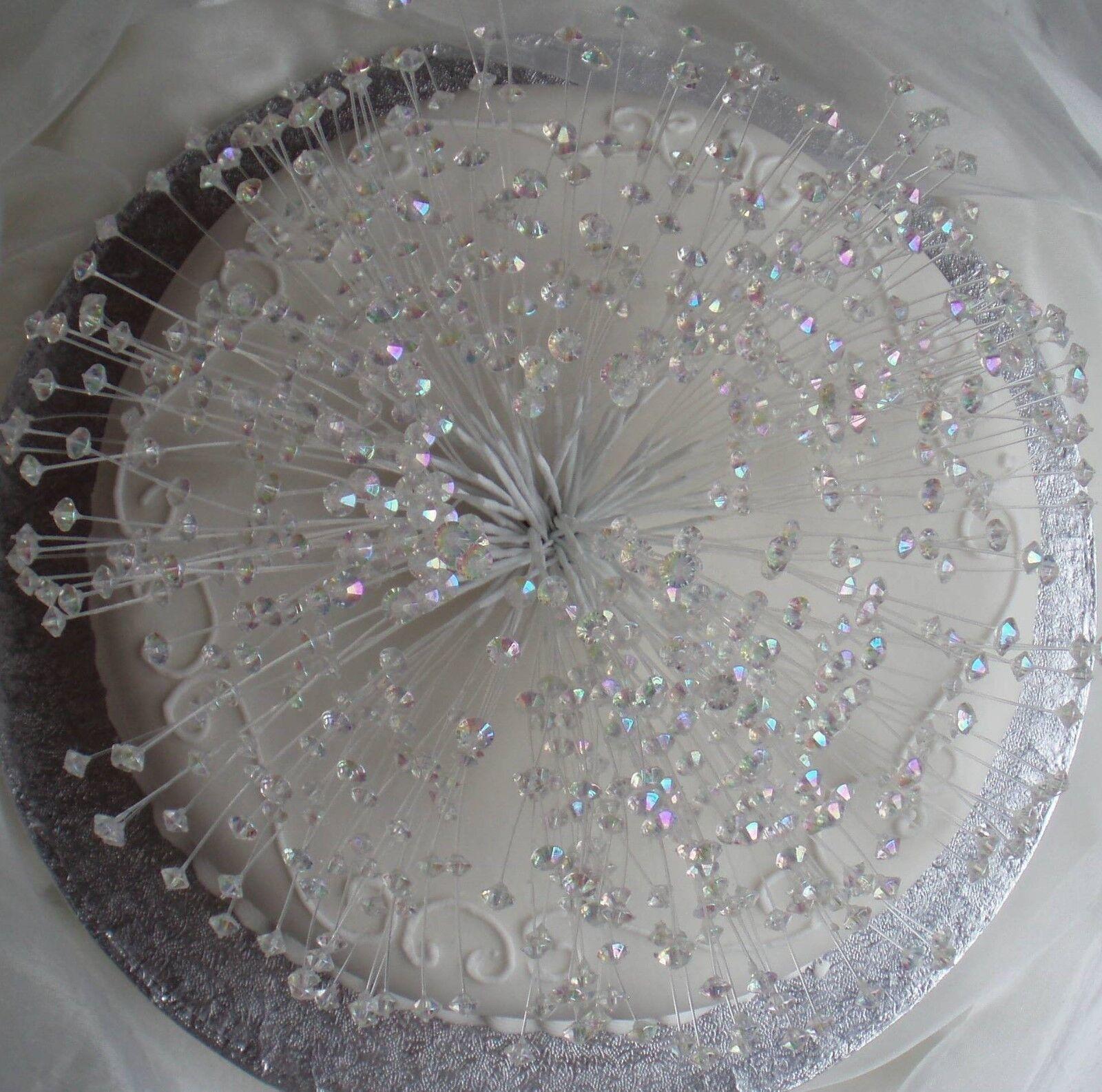 CAKE CAKE CAKE topper Top Cristallo Perline Bling Matrimonio festa comple beb19e