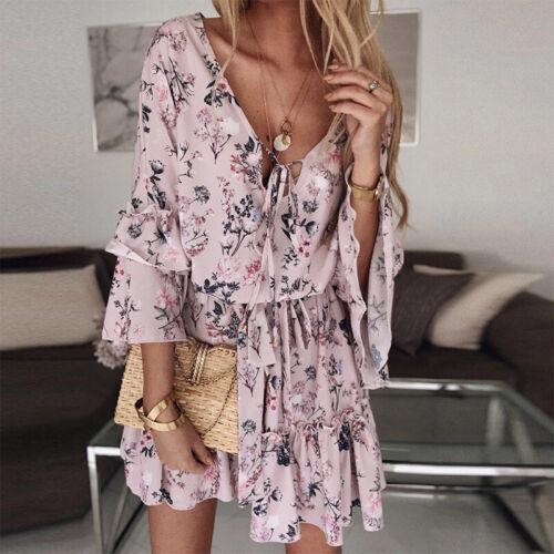 Ladies Boho Printed  Mini Swing Dress Autumn Holiday Beach Ruffle Frill Sundress