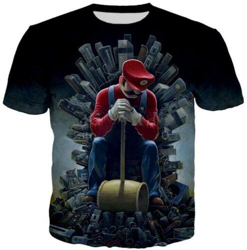 Fashion Funny Super Mario 3D Print T-Shirt women//men/'s Short Sleeve Casual