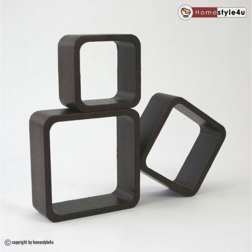 Cubes Regale Design Kunstleder 3er Set braun Retro Wandregal