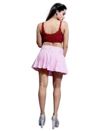 Women/'s rose plissée Jupe courte petit contrôle taille haute Micro Mini Plaid Kilt