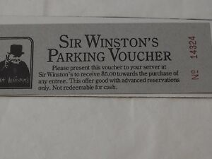 Vintage SIR WINSTON'S Restaurant PARKING VOUCHER Queen Mary near mint