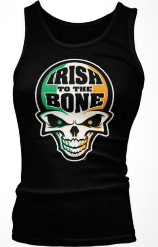 Irish To The Bone Skull Biker Bar St Patricks Day Ireland Boy Beater Tank Top