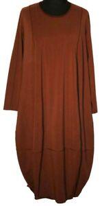 Dress 50 Cotton Nougat 5 Size Balloon Longsleeve Brown Tomo URSncqEq