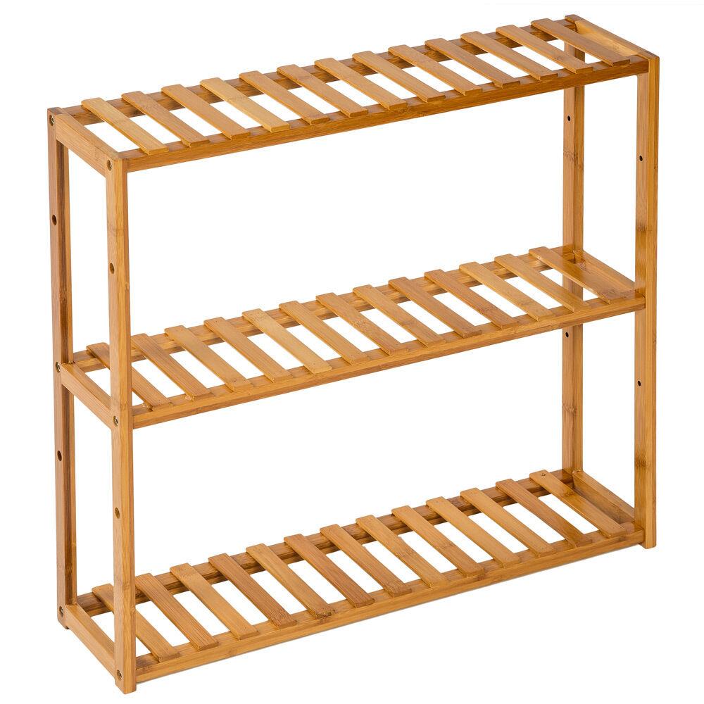 Estantería de madera bambú con 3 niveles para baño toallas librería organizador.