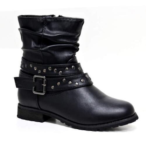 Filles Enfants Fermeture Éclair Décontracté foraml School Cheville Motard Chelsea Bottes Chaussures Taille