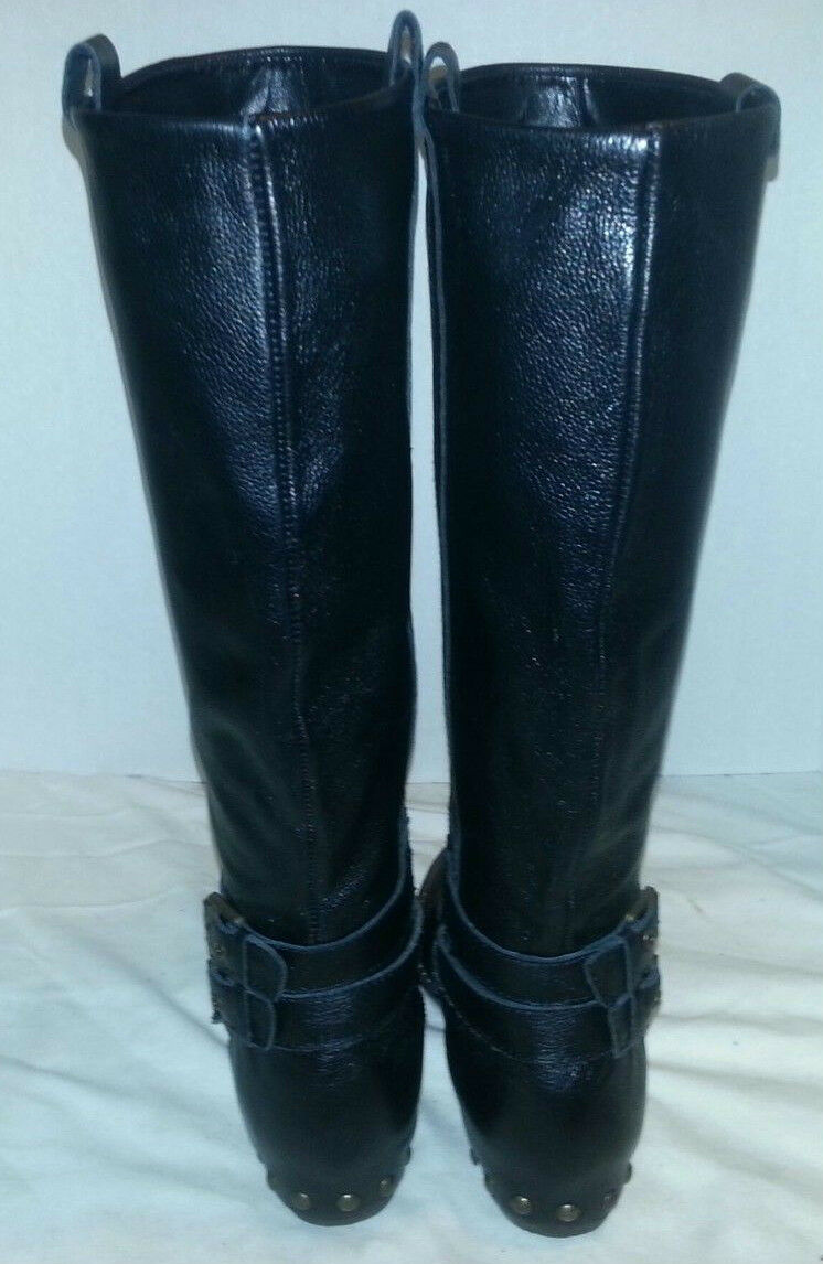 NEW DOLCE VITA BLACK BEND STUDDED HEEL LEATHER RIDING BOOTS Damenschuhe'S SIZE 6