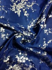 Brocade Chinese floral blossom oriental asian  Navy / Silver Grey Fabric