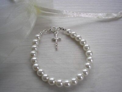 Pearl Bracelet with Crucifix Charm Silver Gold Plated Holy Communion Girl CX3