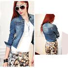 Women Long Sleeve Slim Denim Casual Jean Coat Short Jacket Outerwear Outwear