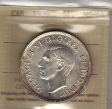 1939 Canada Silver Dollar Coin. ICCS MS-64 (OW 511)