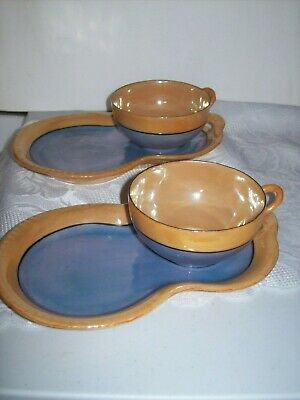 Cups and Snack Plates Mid Century Snack Sets Peach Lusterware Two Sets Hand Painted Lusterware Snack Set Made In Japan