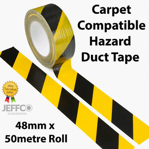 Hazard Warning Floor Marking Tape Waterproof Carpet Compatible Gaffa Duct Cloth