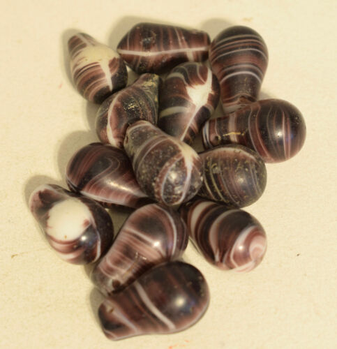 Beads Wedding Glass Old Brown Swirl African Beads 25mm