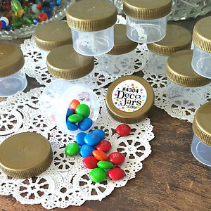 24-Plastic-Jars-1oz-Containers-Gold-Caps-Party-Favors-candy-nuts-DecoJars-4304