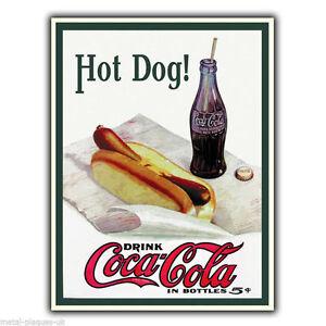 metal sign wall plaque hot dog drink coca cola vintage. Black Bedroom Furniture Sets. Home Design Ideas