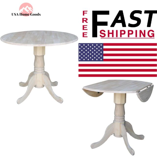 International Concepts Round Dining Table Unfinished Dual Drop Leaf