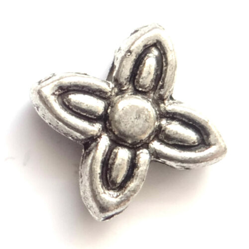 100 Antique Silver 7mm Flower Beads For Jewellery making
