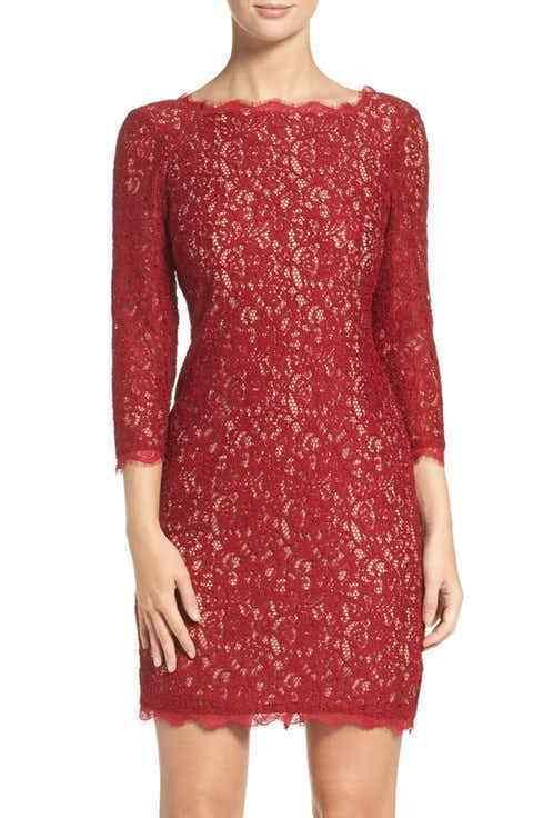 ADRIANNA PAPELL  lace overlay 3 4 SLEEVE oxblood nude SHEATH DRESS sz 8P