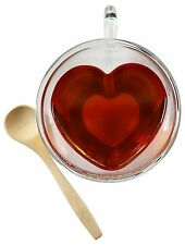 Heart Shaped Tea Cup Glass Coffee Cup Mug With Bamboo Spoon Double Insulated