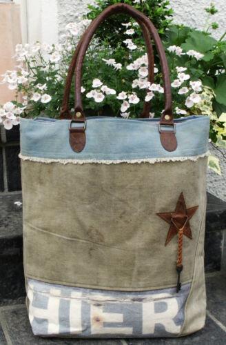 Vintage Shopper Canvas Leder Segeltuch Recycling Tasche