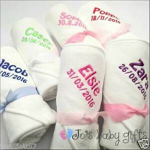 Personalised baby hooded towel embroidered name date quality image is loading personalised baby hooded towel embroidered name amp date negle Gallery