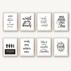 Wash Your Hands Funny Unisex Toilet Sign Print Wall Poster Bathroom Art Decor Ebay