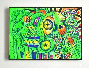 Original-Gothic-Psychedelic-Oil-Painting-Colourful-Skulls-Art-New-Home-Gift-Idea