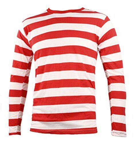 Red And White Striped Long Sleeve Shirt Where's Waldo Costume Wally Clown NYC