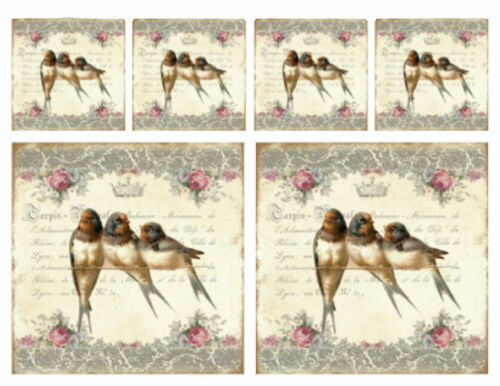 Vintage Image Victorian Birds Roses French Labels Waterslide Decals LAB432