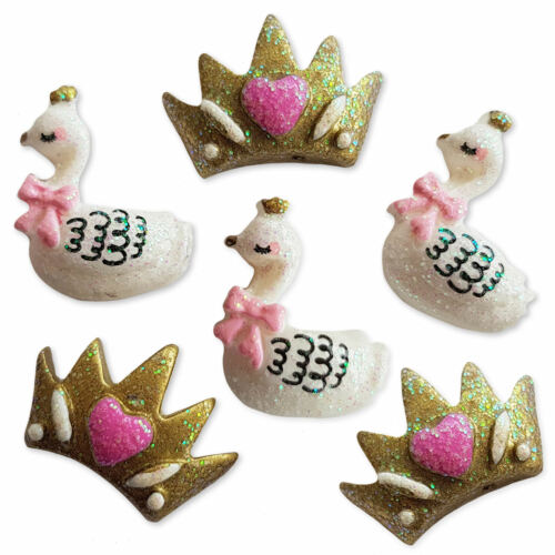 6pcs Queen Swan /& Crown Resin Flatback Cabochons Embellishment Decoden Craft