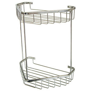 Two tier corner soap shower basket bathroom chrome wire for Basket bathroom accessories