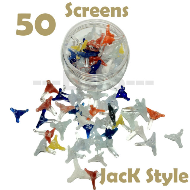 50 U.S.A seller Jack style glass screen for pipes w// plastic container