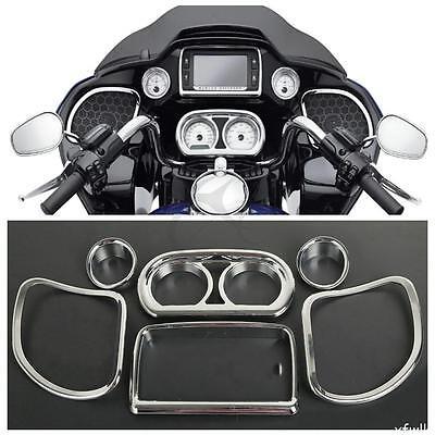 Chrome Inner Fairing Speedometer Radio Speaker Trim Kit Fits For Harley Road Glide 2015-2020
