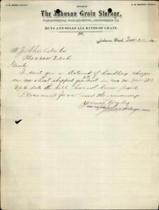 1893 Johnson Washington (WA) Letter The Johnson Grain Storage,Forwarding...