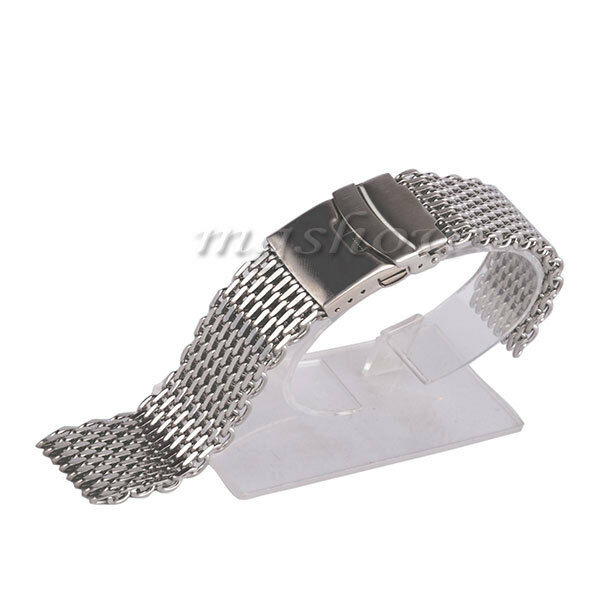 18/20/22/24mm Silver Stainless Steel Buckle Straight End Mesh Watch Band Strap