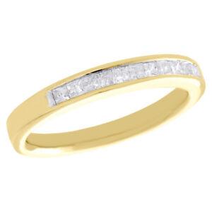 f037383f09fb La imagen se está cargando 14k-Oro-Amarillo-Princesa-Alianza-con-Diamante -3mm-