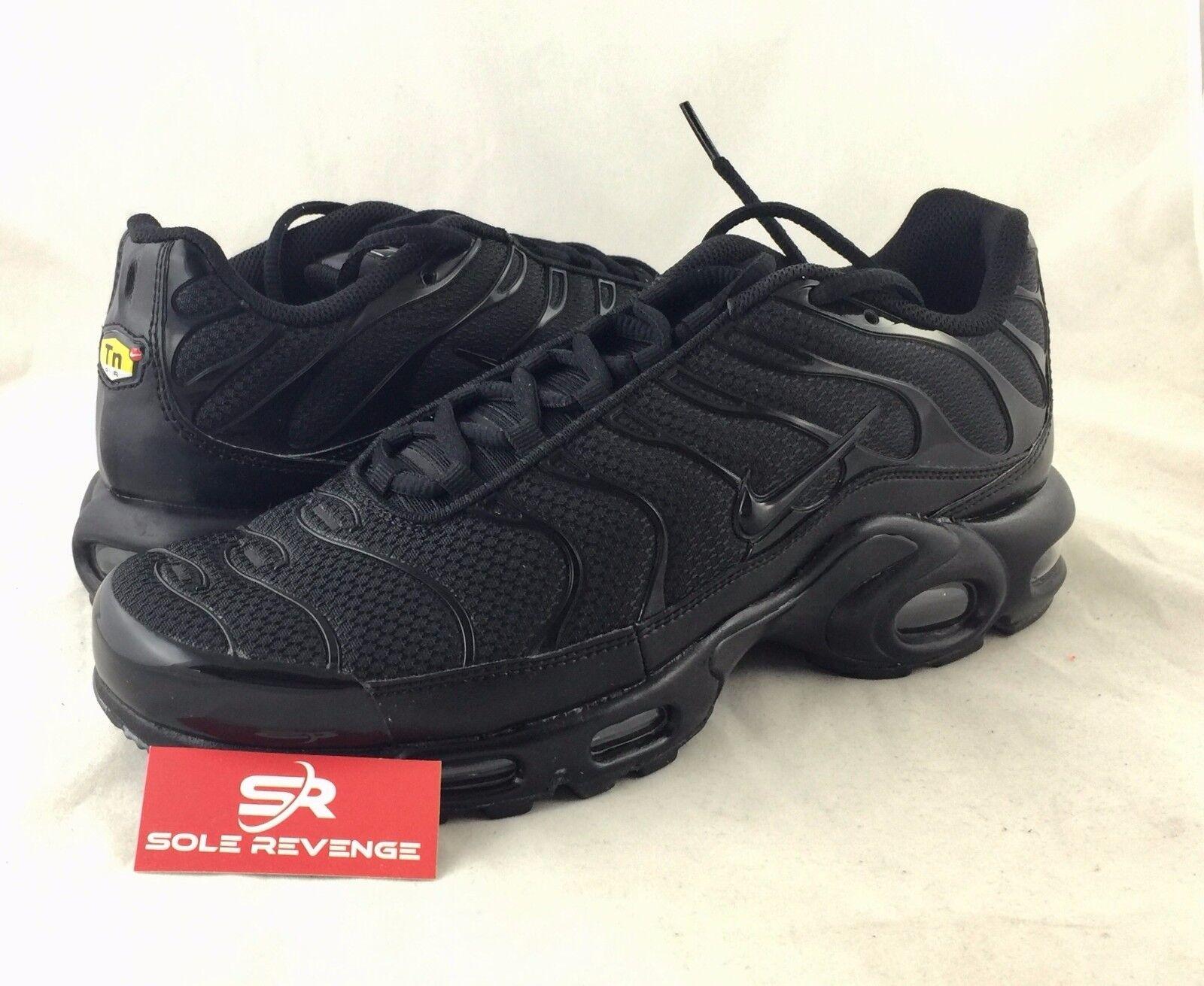 New NIKE AIR MAX PLUS TN Triple Black Shoes 604133-050 95 Tuned Air