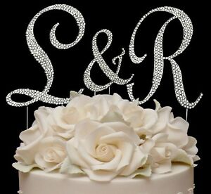 crystal letter wedding cake toppers 3 swarovski covered wedding monogram cake 13111