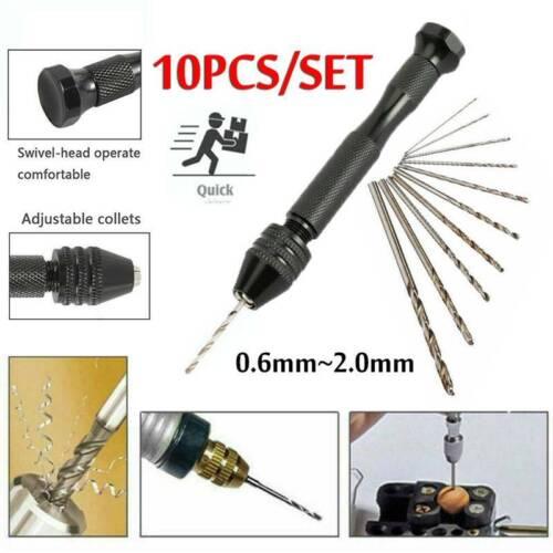 Mini Micro Hand Drill Keyless Chuck 10PCS Twist Drill Bit Rotary Tools Set