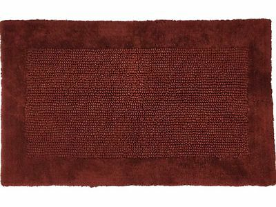 Chunky Textured Rich Rust Bath Rug 23x38 Cotton Mat With