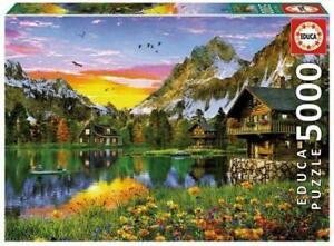 Nuevo-Educa-Puzzle-5000-piezas-Azulejos-Adulto-Rompecabezas-Lago-Alpino