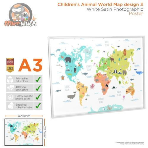 Children's Kids Educational School World Map Poster Print Design 3 A2 A3